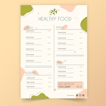Винтажное меню ресторана здоровой пищи