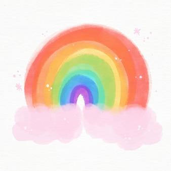 Иллюстрированная яркая акварельная радуга