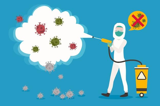 Вирусная дезинфекция в плоском дизайне