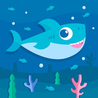 漫画のスタイルの図の赤ちゃんサメ