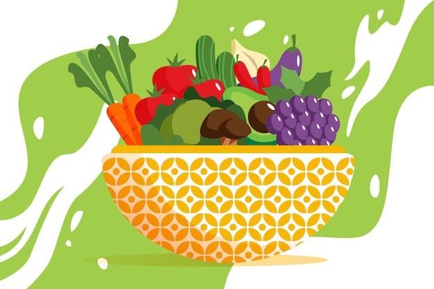 果物や野菜の背景デザイン