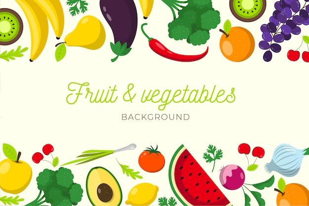 Фрукты и овощи плоский дизайн