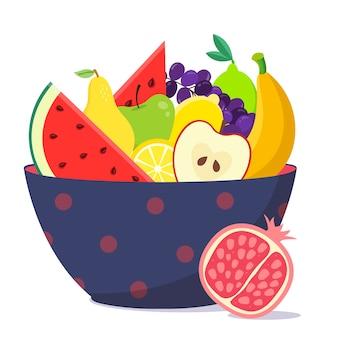 Чаша с фруктами и салатом