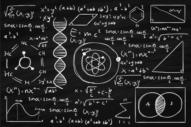黒板に手描きの科学的な数式