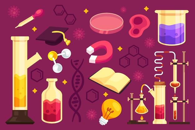 手描きのカラフルな科学教育の背景