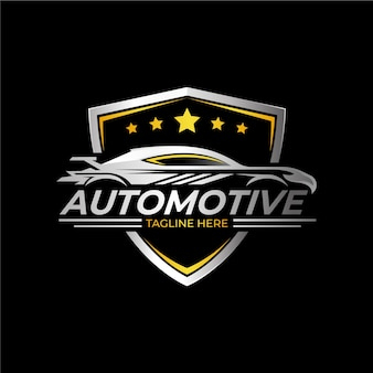 リアルなメタリックカーのロゴ
