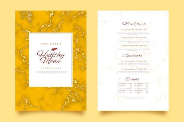 Шаблон меню ресторана мраморной здоровой пищи