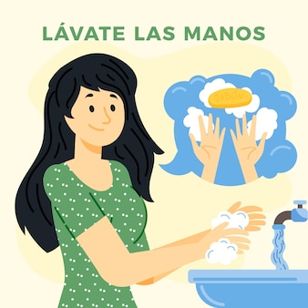 Женщина моет руки в раковине