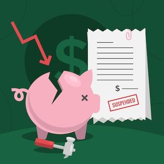 破産概念のフラットなデザイン図