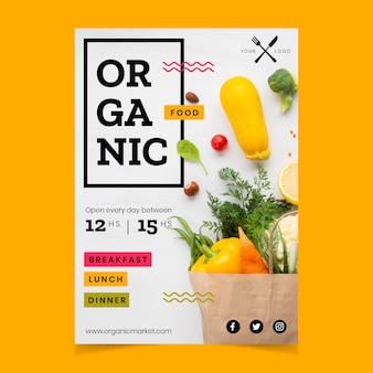 写真と健康食品レストランポスターテンプレート