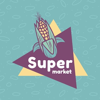 トウモロコシとスーパーマーケットのロゴのテンプレート