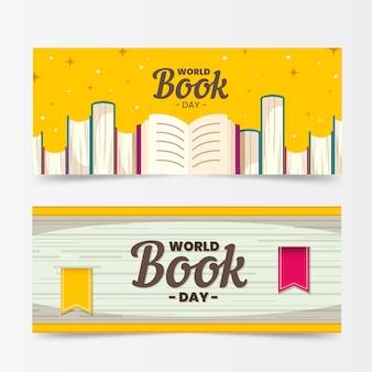 Плоский дизайн счастливых баннеров день любителей книги