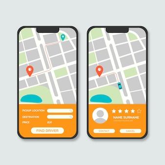 Интерфейс приложения такси