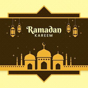 モスクとフラットなデザインラマダンイベントイラスト