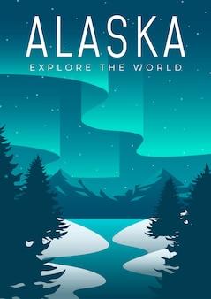 アラスカ旅行ポスターデザインイラスト