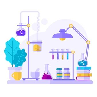 Акварельные научные объекты в лаборатории