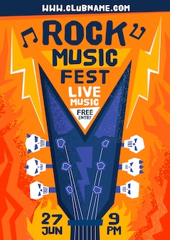 Шаблон плаката фестиваля рок-музыки