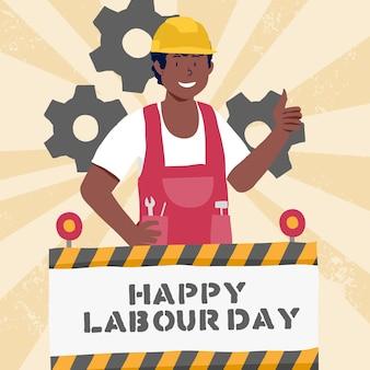 手描きの労働者の日の概念