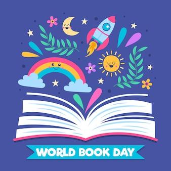 世界の本の日の手描きデザイン