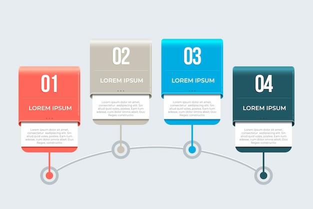 インフォグラフィックスタイルのタイムライン