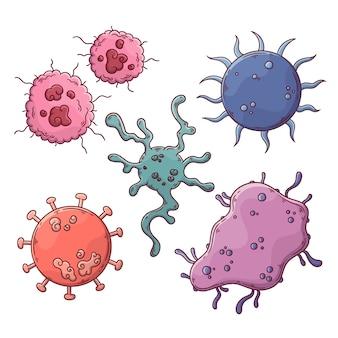 Ручной обращается дизайн коллекции вирусов