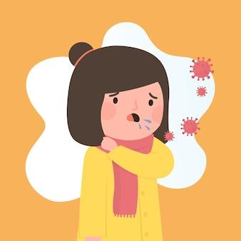 コロナウイルスから咳をする人