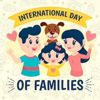 家族をテーマにした国際デーのイラスト