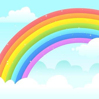 雲の中のカラフルなフラットデザインの虹