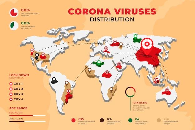 コロナウイルスの世界地図のコンセプト