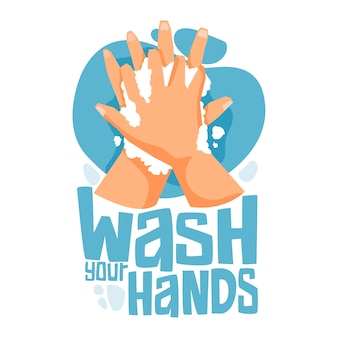 石鹸と水で手を洗います