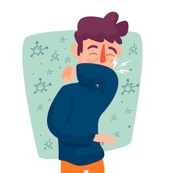咳の症状を持つ若い男性