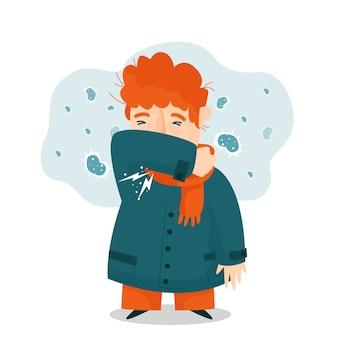 暖かい服を着て咳をする若い男性