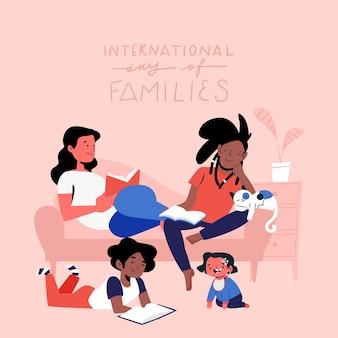 Счастливая молодая семья проводит время в гостиной