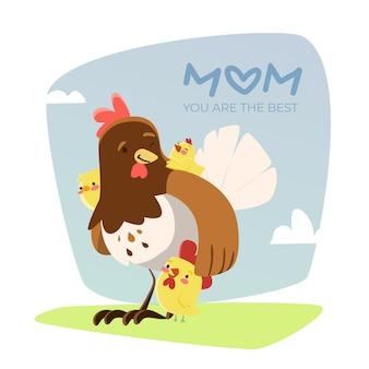 Курица и ее куры играют на открытом воздухе в день матери