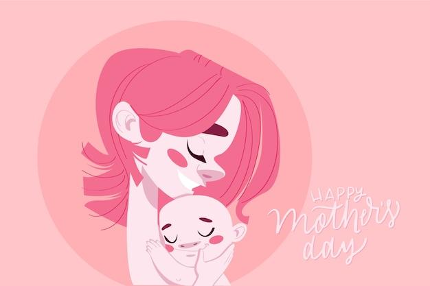 彼女の子供を抱いてピンクの髪の幸せな母