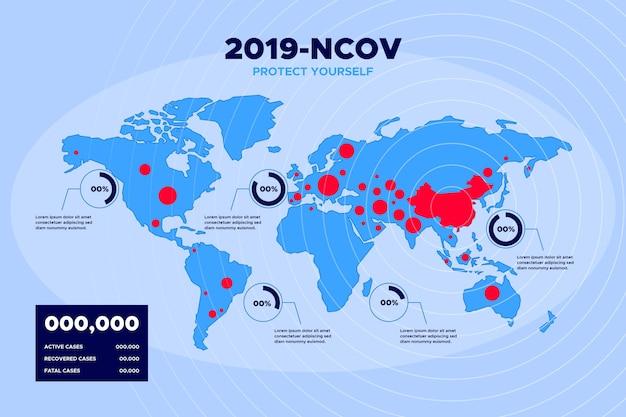 コロナウイルスのパンデミックマップ