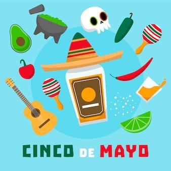 Плоский дизайн концепции синко де майо с элементами