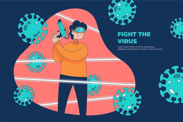 ウイルスと戦うワクチンピストルを持つ人
