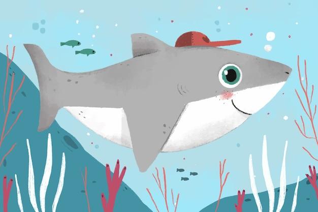 Плоский дизайн иллюстрация детской акулы