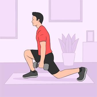 男と重みを持つ家庭でのトレーニングのコンセプト