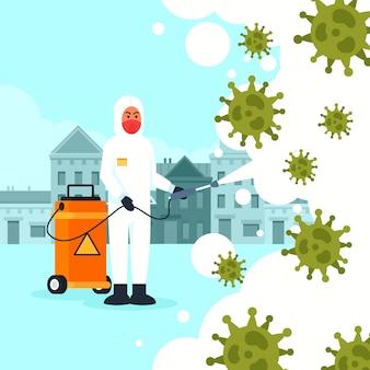 ウイルス消毒イラストデザイン