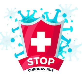 コロナウイルスのデザインで一時停止の標識