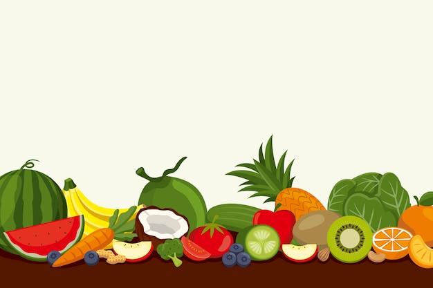 Фон с различными фруктами и овощами