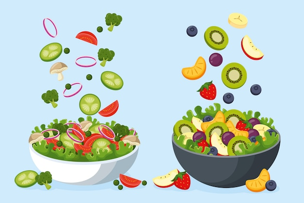 Фрукты и салат в мисках
