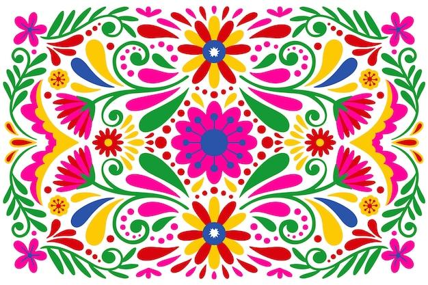 カラフルな花のメキシコの背景