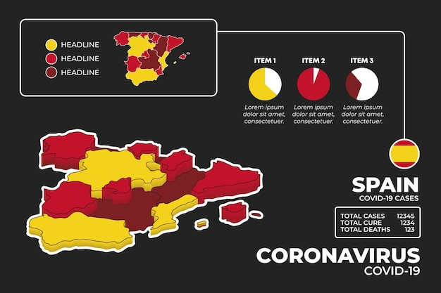 コロナウイルス地図インフォグラフィック
