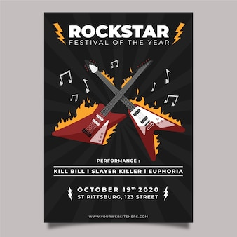 Музыкальный плакат с электрогитарой