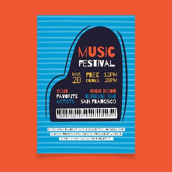 Музыкальный плакат с фортепиано