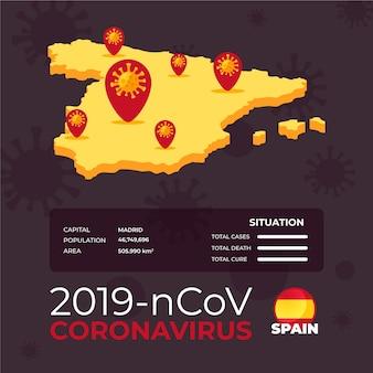コロナウイルスの国地図インフォグラフィック