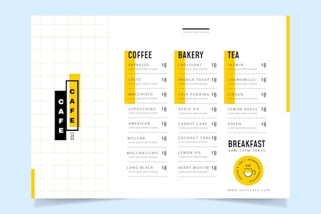 Шаблон меню кафе